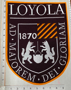 "RARE VINTAGE 14"" LOYOLA UNIVERSITY CHICAGO AD MAJOREM DEI GLORIAM CREST PATCH"