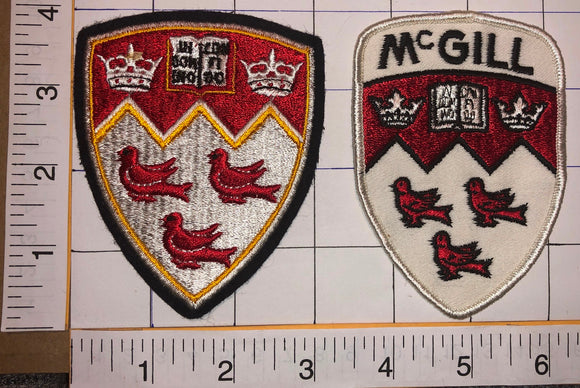 2 RARE VINTAGE McGILL UNIVERSITY IN DOMINO CONFIDO EMBLEM CREST PATCH LOT