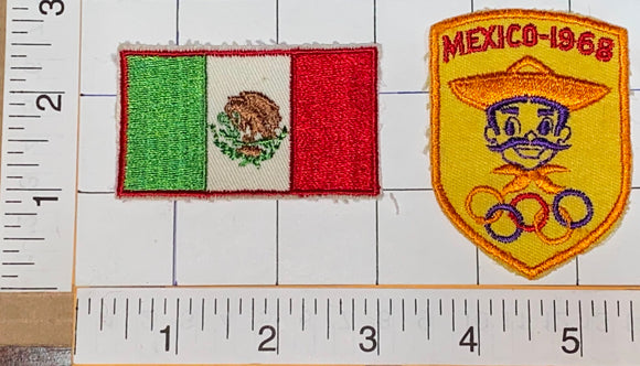 2 VINTAGE 1968 MEXICO SUMMER OLYMPICS XIX OLYMPIAD EMBLEM CREST PATCH LOT