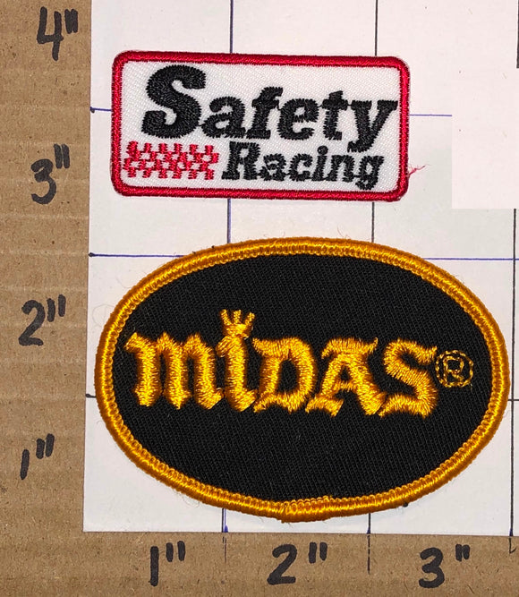 2 MIDAS MUFFLER SAFETY RACING NASCAR SPONSOR NHRA GRAND PRIX EMBLEM PATCH LOT