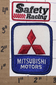 2 MITSUBISHI MOTORS SAFETY RACING RALLY RACING OFF ROAD CREST EMBLEM PATCH LOT