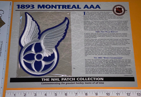 1 OFFICIAL 1893 MONTREAL AAA CANADIENS  NHL HOCKEY WILLABEE & WARD PATCH MIP