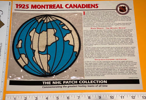 1 OFFICIAL 1925 NHL HOCKEY MONTREAL CANADIENS WILLABEE & WARD PATCH MIP