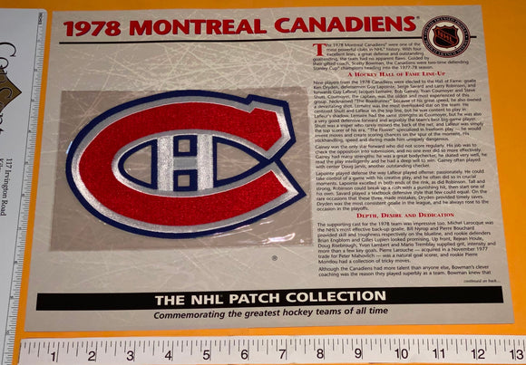 1978 NHL HOCKEY MONTREAL CANADIENS WILLABEE & WARD PATCH MIP