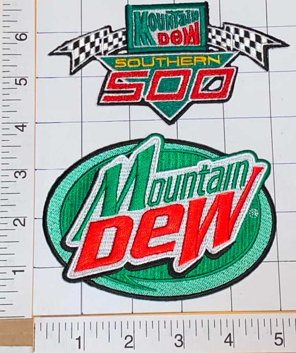 2 MOUNTAIN DEW SOUTHERN 500 NASCAR WINSTON SOFT DRINK PATCH LOT