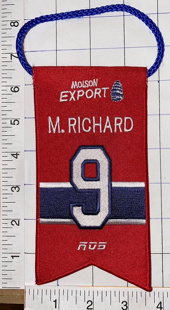 MAURICE RICHARD MONTREAL CANADIENS #9 RETIREMENT BANNER NHL HOCKEY RDS MOLSON
