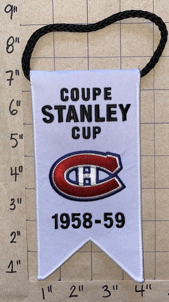 MONTREAL CANADIENS 1958-59 STANLEY CUP CHAMPIONS BANNER PLANTE NHL HOCKEY