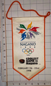 "1998 NAGANO OLYMPICS NHL OFFICIALLY LICENSED 10"" COOLEST PENNANT RAYON BANNER"