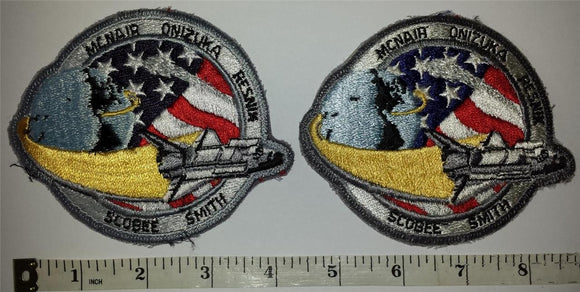 2 VINTAGE NASA SPACE SHUTTLE CHALLENGER STS-51L McNair Smith Scobee Resnik PATCH
