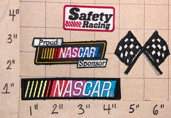 4 NASCAR SAFETY RACING STOCK CAR AUTO RACING FLAGS CREST EMBLEM PATCH LOT