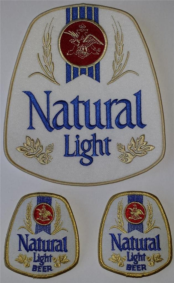 3 VINTAGE NATURAL LIGHT BEER BREWERY ANHEUSER-BUSCH CREST EMBLEM PATCH LOT