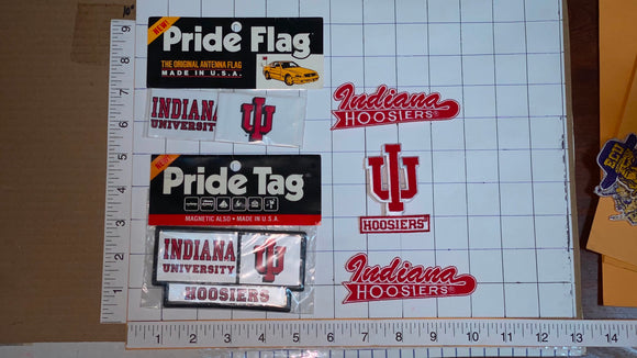 5 INDIANA HOOSIERS UNIVERSITY NCAA PRIDE FLAG TAG PATCH LOT