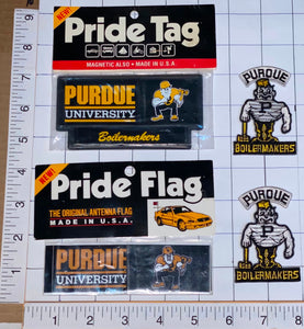 4 PURDUE BOILERMAKERS UNIVERSITY NCAA PRIDE FLAG TAG PATCH LOT