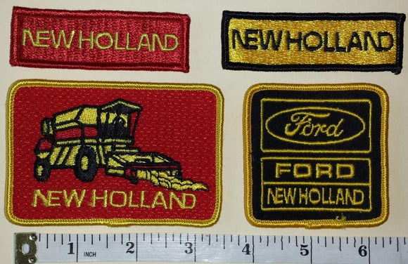 4 FORD NEW HOLLAND AGRICULTURE TRACTORS HARVESTER CREST EMBLEM PATCH LOT