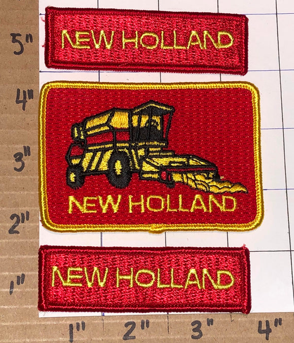 3 FORD NEW HOLLAND AGRICULTURE TRACTORS HARVESTER CREST EMBLEM RED PATCH LOT