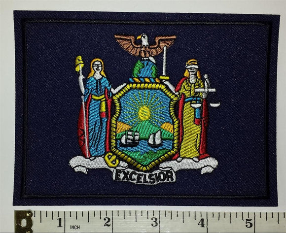 1 NEW YORK STATE FLAG EXCELSIOR CREST TRAVEL TOURIST TOURISM PATCH