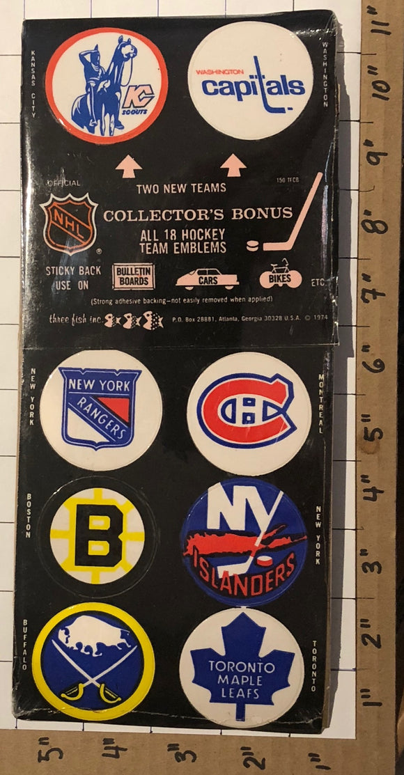 1974 RARE VINTAGE NHL HOCKEY PUCK STICKERS BRUINS KC SCOUTS GOLDEN SEALS MIP