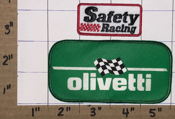 2 OLIVETTI SAFETY RACING DIVISION GRAND PRIX FORMULA 1 STOCK CAR BADGE PATCH LOT