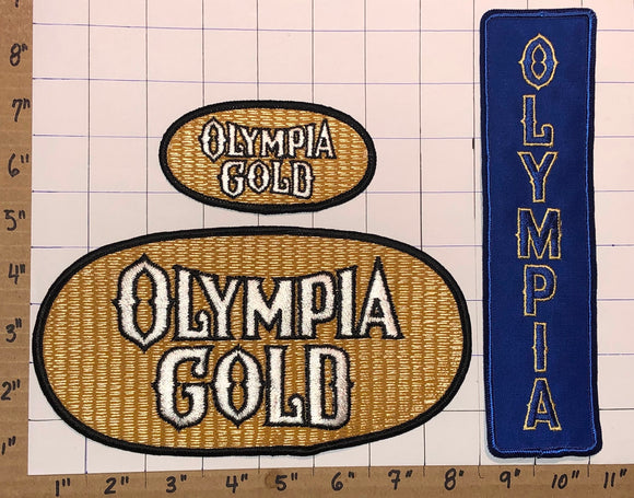 3 RARE VINTAGE OLYMPIA GOLD BEER BREWERY CREST PATCH LOT