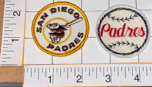 "2 VINTAGE SAN DIEGO PADRES MLB BASEBALL 2"" EMBROIDERED CREST PATCH LOT"