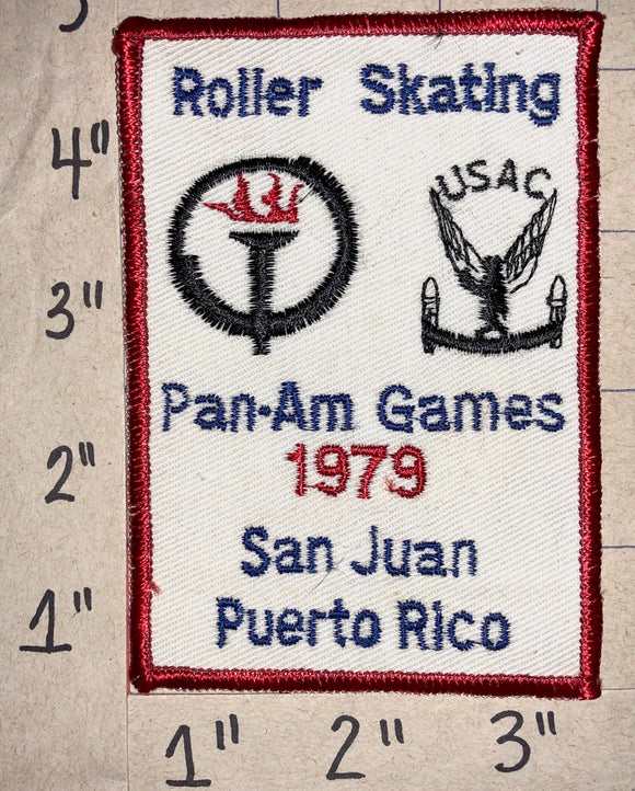 RARE 1979 PAN-AM GAMES ROLLER SKATING SAN JUAN PUERTO RICO CREST EMBLEM PATCH