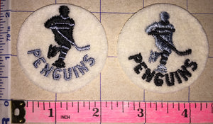 2 VINTAGE PITTSBURGH PENGUINS 2 inch NHL HOCKEY CREST PATCH LOT