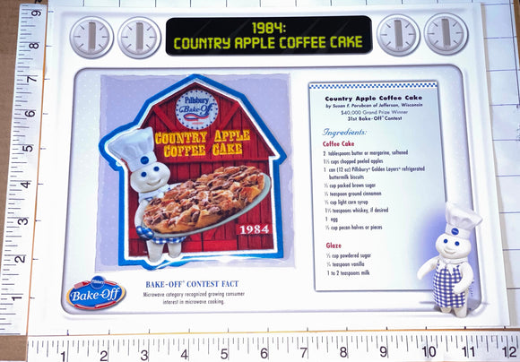 1984 PILLSBURY COUNTRY APPLE COFFEE CAKE WILLABEE & WARD RECIPE EMBLEM PATCH