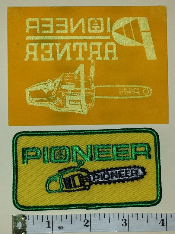 1 PIONEER CHAINSAW CHAIN SAW POWER TOOLS + 1 TRANSFER CREST EMBLEM PATCH LOT
