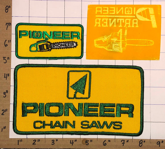 2 PIONEER CHAINSAW CHAIN SAW POWER TOOLS + 1 TRANSFER CREST EMBLEM PATCH LOT