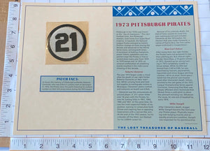1973 PITTSBURGH PIRATES OFFICIAL WILLABEE & WARD ROBERTO CLEMENTE #21 PATCH