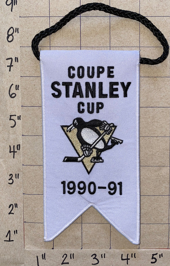 PITTSBURGH PENGUINS 1990-91 STANLEY CUP CHAMPIONS BANNER LEMIEUX JAGR NHL HOCKEY