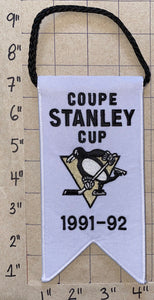 PITTSBURGH PENGUINS 1991-92 STANLEY CUP CHAMPIONS BANNER LEMIEUX JAGR NHL HOCKEY
