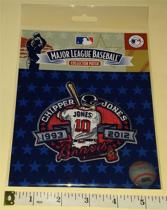 OFFICIAL MLB ATLANTA BRAVES CHIPPER JONES #10 RETIREMENT 1993-2012 PATCH MIP