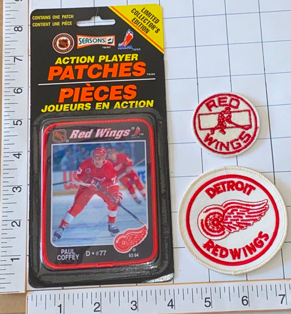 3 RARE DETROIT RED WINGS PAUL COFFEY NHL HOCKEY ACTION PLAYER PATCH LOT