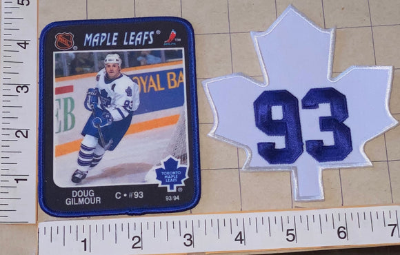 2 RARE TORONTO MAPLE LEAFS DAVID GILMOUR #93 NHL HOCKEY ACTION PLAYER PATCH LOT