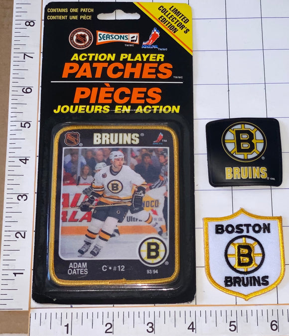 3 RARE BOSTON BRUINS ADAM OATES NHL HOCKEY ACTION PLAYER PATCH LOT