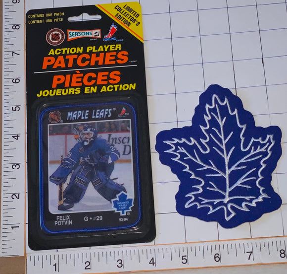 2 RARE TORONTO MAPLE LEAFS FELIX POTVIN NHL HOCKEY ACTION PLAYER PATCH LOT