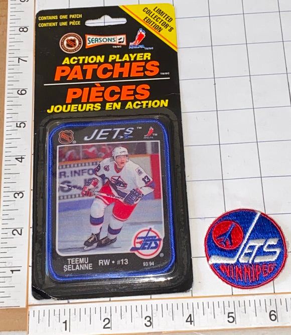2 RARE WINNIPEG JETS TEEMU SELANNE NHL HOCKEY ACTION PLAYER PATCH LOT