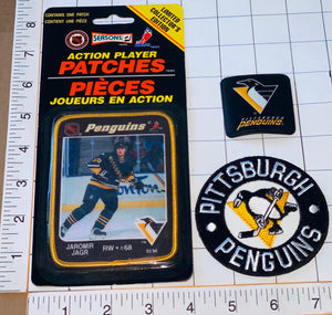 3 RARE PITTSBURGH PENGUINS JAROMIR JAGR NHL HOCKEY ACTION PLAYER PATCH LOT