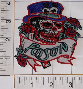 1 RARE POISON AMERICAN HARD ROCK MUSIC BAND SKULL & ROSES EMBLEM PATCH