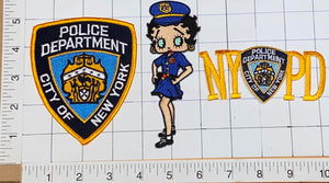 3 NY CITY OF NEW YORK CITY POLICE DEPARTMENT BETTY BOOP CONSTABLE PATCH LOT