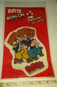 1 RARE VINTAGE 1980 KEEP ON SKATING POPEYE MINT IN PACKAGE PATCH EMBLEM CREST