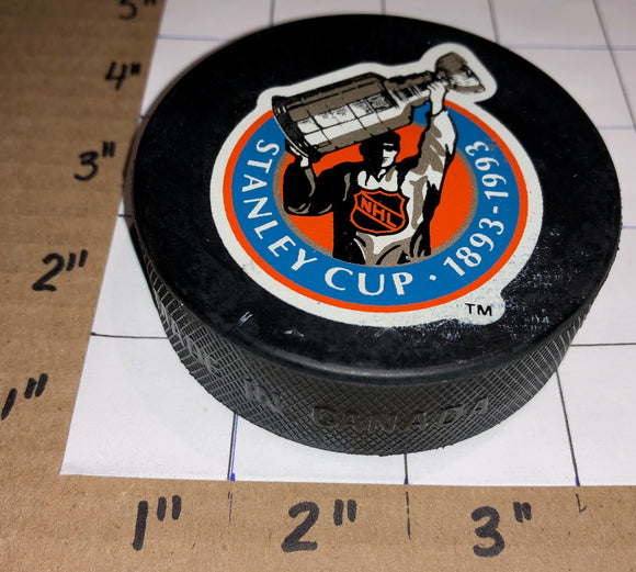 NHL STANLEY CUP INGLASCO GIL STEIN OFFICIAL GAME PUCK 100 ANNIVERSARY 1893-1993
