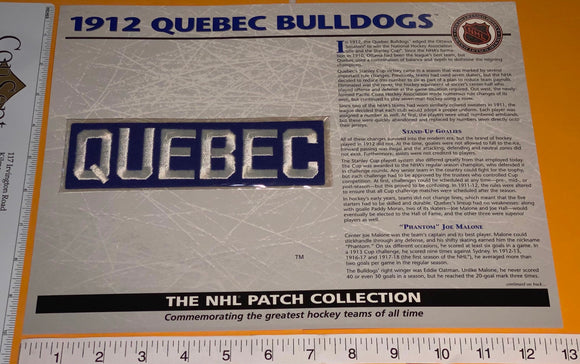 1 OFFICIAL 1912 QUEBEC BULLDOGS NHL HOCKEY WILLABEE & WARD PATCH MIP