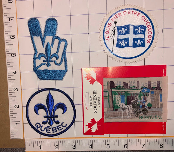 4 VINTAGE QUEBEC FRENCH CANADIAN VOYAGER TRAVEL TOURIST CREST PATCH LOT