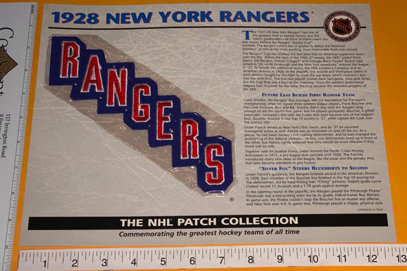 1 OFFICIAL 1928 NEW YORK RANGERS NHL HOCKEY WILLABEE & WARD PATCH MIP