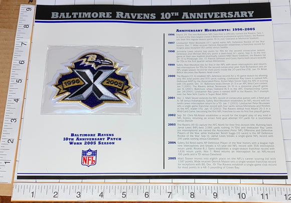BALTIMORE RAVENS 10TH ANNIVERSARY NFL FOOTBALL WILLABEE & WARD STAT & PATCH