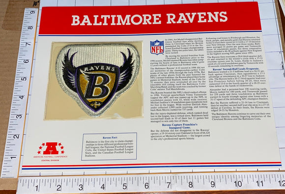 BALTIMORE RAVENS NFL FOOTBALL TEAM EMBLEM WILLABEE & WARD INFO STAT & PATCH