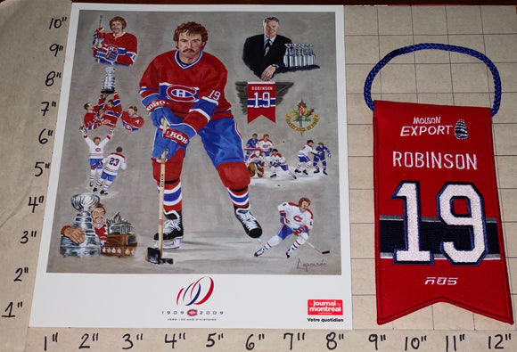 LARRY ROBINSON MONTREAL CANADIENS #19 RETIREMENT BANNER NHL LITHOGRAM RDS MOLSON