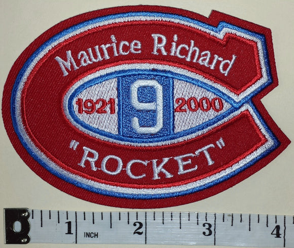 MONTREAL CANADIENS 1921-2000 NHL MEMORIAL MAURICE ROCKET RICHARD #9 CREST PATCH